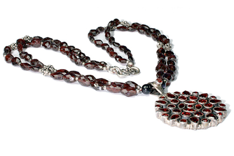 Design 9501: Red garnet pendant necklaces