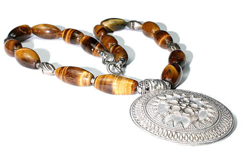 Design 9505: brown,yellow tiger eye ethnic necklaces