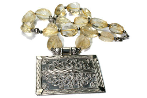 Design 9510: yellow lemon quartz ethnic, pendant necklaces