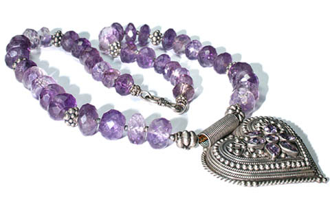 Design 9511: purple amethyst medallion necklaces