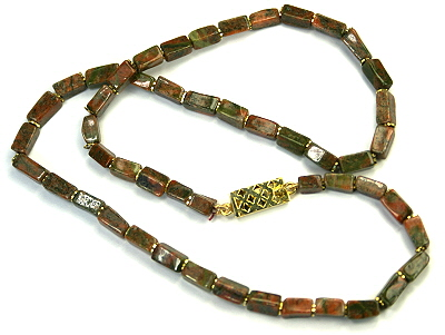 Design 9555: green,red unakite simple-strand necklaces