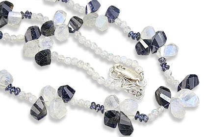 Design 9573: blue,white moonstone necklaces