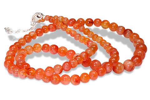 Design 9575: orange agate simple-strand necklaces