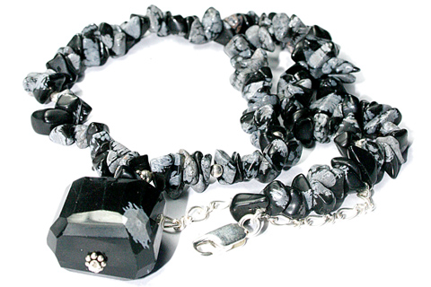 Design 9592: black,gray obsidian chipped, pendant necklaces