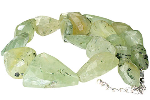 Design 9661: green prehnite chunky, tumbled necklaces