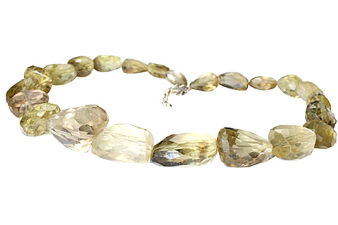 Design 9667: green lemon quartz chunky, tumbled necklaces
