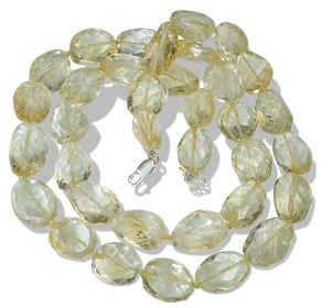 Design 9675: yellow citrine chunky, tumbled necklaces