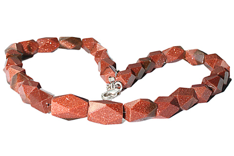 Design 9683: red goldstone chunky necklaces