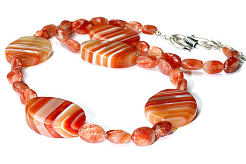 Design 9719: orange sunstone necklaces