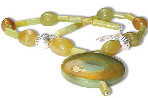 Design 9740: green,yellow onyx chunky necklaces