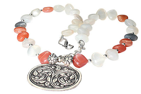 Design 9747: gray,white moonstone ethnic, flower, leaf, medallion necklaces