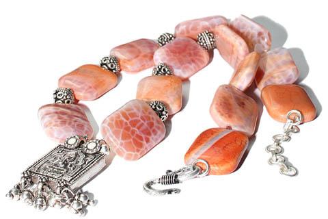 Design 9756: pink agate contemporary, religious necklaces