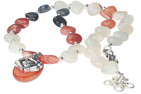 Design 9765: gray,white moonstone contemporary, religious necklaces
