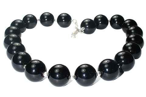 Design 9784: black onyx chunky, halloween necklaces