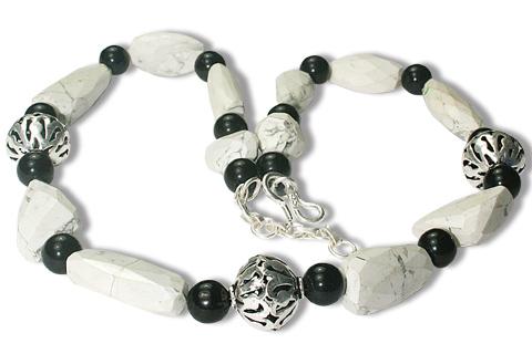 Design 9786: white,multi-color howlite chunky, halloween necklaces