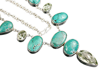 Design 9811: blue,green turquoise american-southwest, choker, chunky, contemporary, drop necklaces