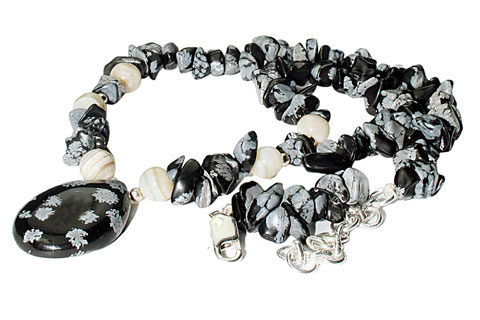 Design 9819: black,gray obsidian chipped necklaces