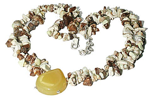 Design 9822: brown,white,yellow chalcedony chipped, contemporary necklaces