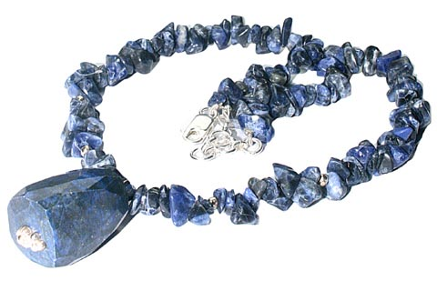 Design 9826: blue sodalite chipped necklaces