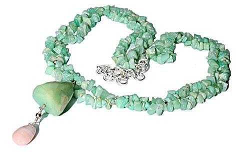 Design 9827: green chrysoprase chipped necklaces