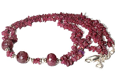 Design 9828: red ruby chipped necklaces