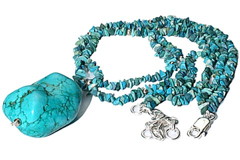Design 9830: blue turquoise american-southwest, chipped necklaces