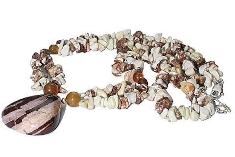 Design 9833: brown agate chipped necklaces