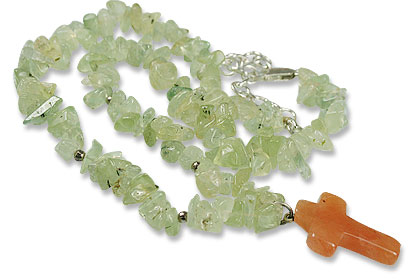 Design 9835: green,orange prehnite chipped, christian, cross, pendant necklaces