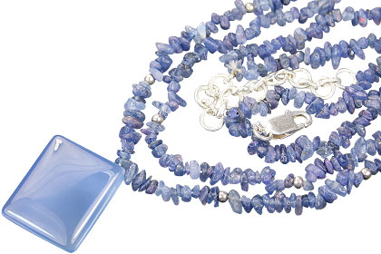 Design 9839: blue sapphire chipped necklaces
