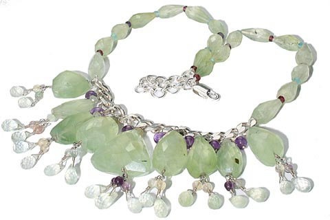 Design 9849: green,purple prehnite choker necklaces