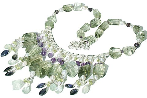 Design 9850: blue,green,purple multi-stone choker, chunky, contemporary necklaces