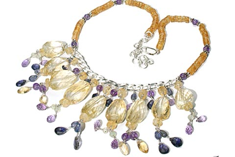 Design 9851: purple,yellow multi-stone choker, tumbled necklaces