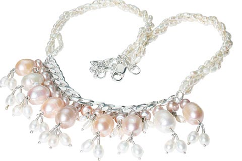 Design 9854: pink,white pearl choker necklaces