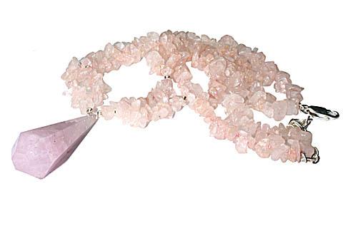 Design 9858: pink rose quartz chipped, contemporary, engagement necklaces