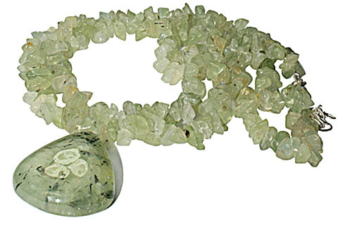 Design 9859: green prehnite chipped, contemporary, drop necklaces