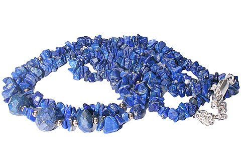 Design 9865: blue lapis lazuli chipped, contemporary, multistrand necklaces