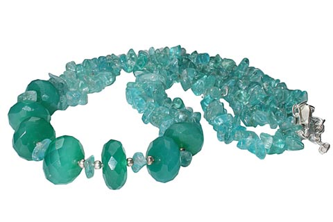 Design 9866: green apatite chipped, contemporary necklaces