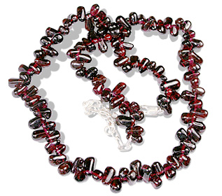 Design 9872: red garnet drop, simple-strand necklaces