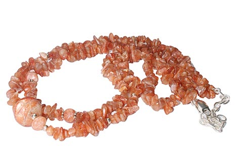 Design 9878: brown,orange sunstone chipped, multistrand necklaces