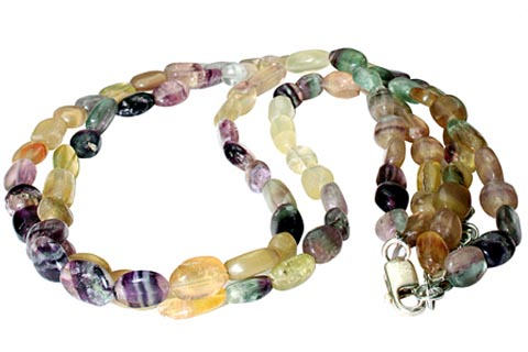Design 9881: green,yellow fluorite multistrand necklaces