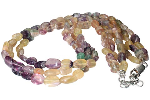 Design 9886: Yellow, Green fluorite multistrand necklaces
