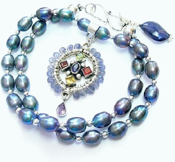 Design 9904: blue, multi iolite cross necklaces