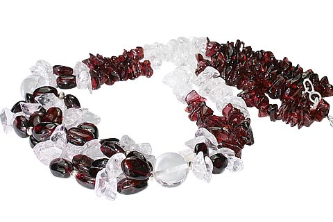 Design 9960: red,white garnet chipped, multistrand necklaces