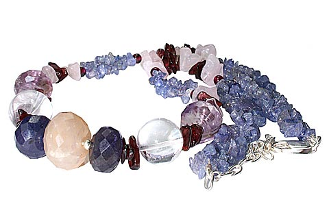 Design 9967: blue,red,white multi-stone chipped necklaces