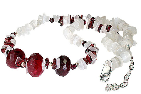Design 9969: red,white moonstone chipped necklaces