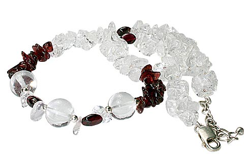 Design 9970: red,white crystal chipped necklaces