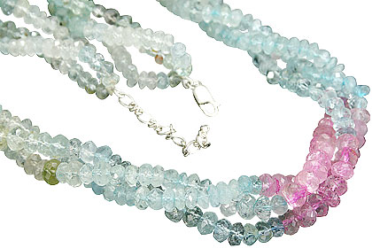 Design 9986: multi-color aquamarine contemporary necklaces