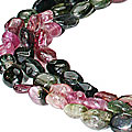 Design 10970: green,pink tourmaline multistrand necklaces