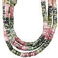 Design 10971: pink tourmaline multistrand necklaces