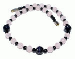 Design 11718: pink,purple,black rose quartz choker necklaces